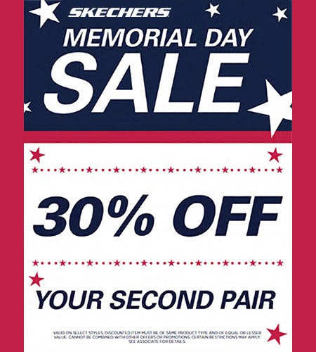 SKECHERS MEMORIAL DAY SALE! 30% OFF YOUR SECOND PAIR!