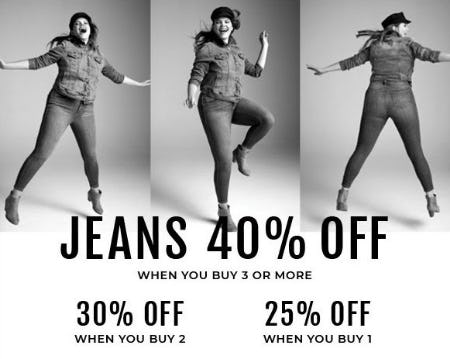 Jeans 40% Off When You Buy 3 or More