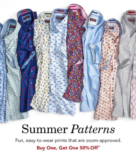 BOGO 50% Off Summer Patterns from Johnston & Murphy