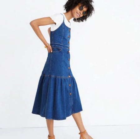 Denim Bayview Tiered Midi Dress from Madewell