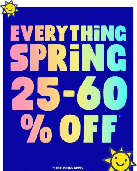 Everything Spring 25-60% Off