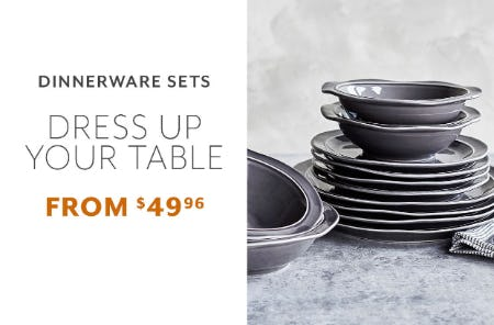 Dinnerware Sets From $49.96 from Sur La Table