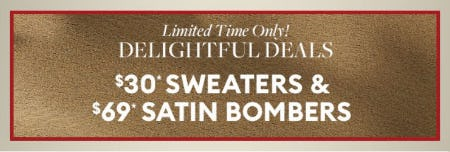 $30 Sweaters and $69 Satin Bombers