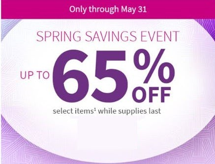Spring Savings Event: Up to 65% Off
