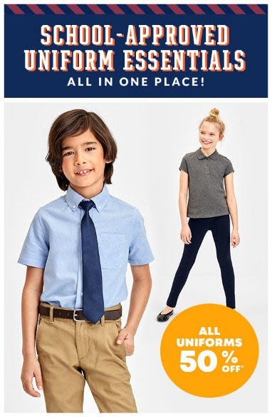 All Uniforms 50% Off from The Children's Place