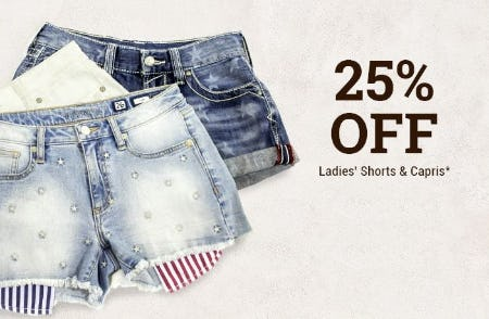 25% Off Ladies' Shorts & Capris from Boot Barn Western And Work Wear
