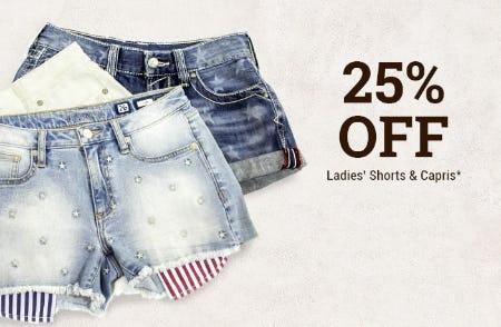 25% Off Ladies' Shorts & Capris
