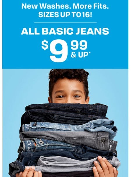 All Basic Jeans $9.99 and Up from The Children's Place Gymboree