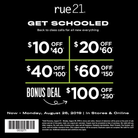August Tiered Coupon Offer from rue21