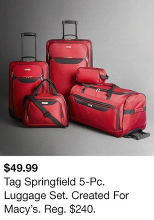 $49.99 Tag Springfield 5-Pc. Luggage Set from macy's
