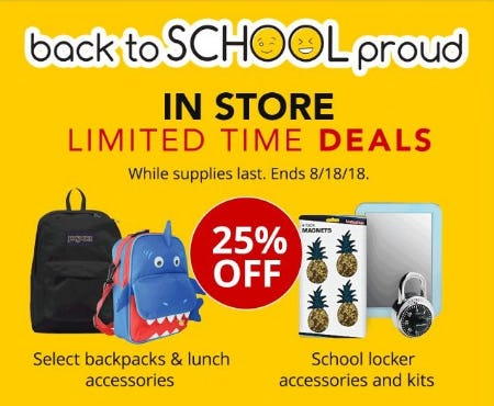 25% Off Select Backpacks & Lunch Accessories & School Locker Accessories & Kits from Office Depot