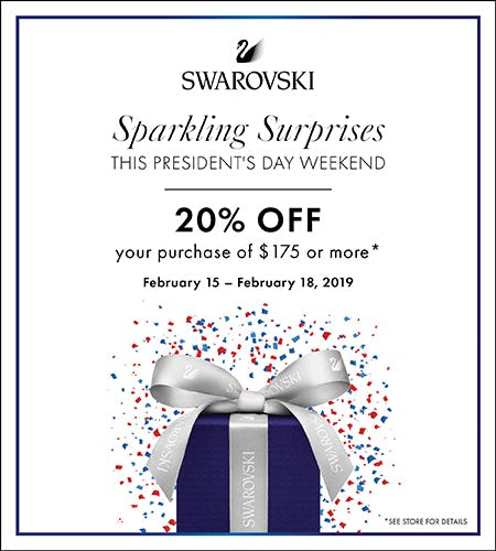 Enjoy 20% off your purchase of $175+ from Swarovski
