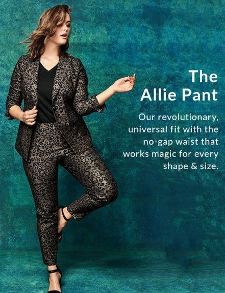 Power Pockets Allie Sexy Stretch Ankle Pant - Pull-On Metallic Leopard from Lane Bryant