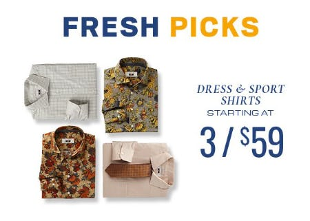 Dress & Sport Shirts Starting at 3 for $59 from Men's Wearhouse