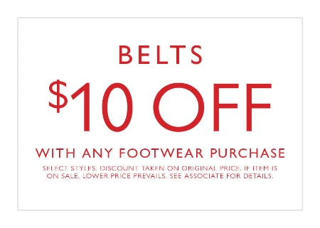 Buy any footwear, get $10 off a belt from Clarks