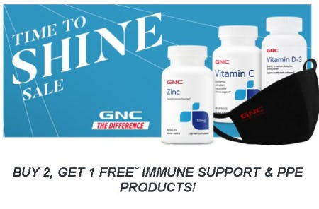 Buy 2, Get 1 Free Immune Support & PPE Products from GNC