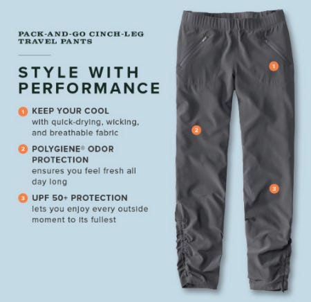 Pack and Go Cinch Leg Travel Pants from Orvis