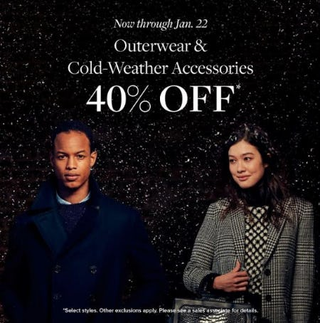 Outerwear & Cold-Weather Accessories 40% Off from Brooks Brothers