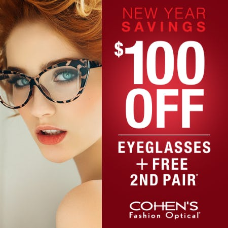 $100 Off Eyeglasses + FREE 2nd Pair* from Cohen's Fashion Optical
