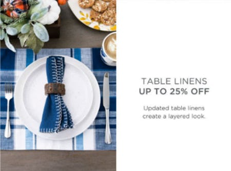 Table Linens Up to 25% Off from Kirkland's
