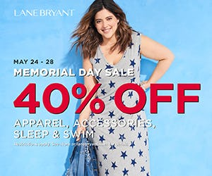 40% OFF APPAREL, ACCESSORIES, SLEEP & SWIM* from Lane Bryant