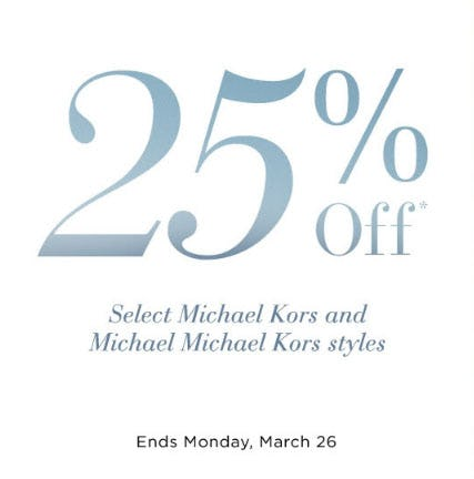 25% Off Select Michael Kors & Michael Michael Kors from Saks Fifth Avenue