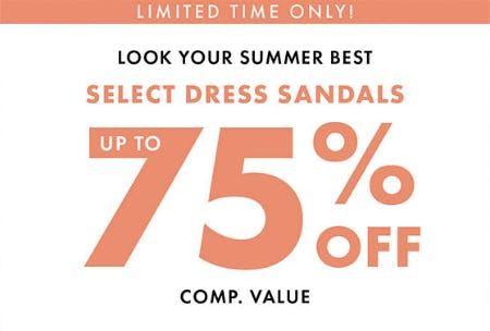 Up to 75% Off on Select Dress Sandals from DSW Shoes