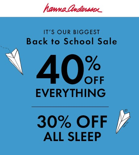 30% Off Sleep, 40% Off Everything Else from Hanna Andersson