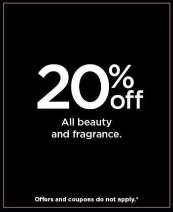 20% Off All Beauty and Fragrance