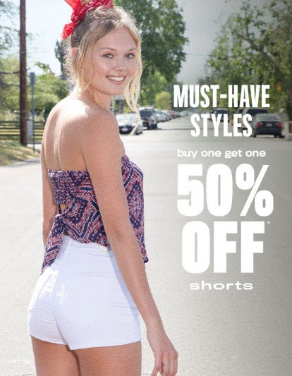 BOGO 50% Off Shorts from rue21