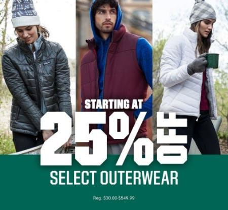 Select Outerwear Starting at $25% Off