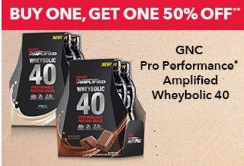 Buy One, Get One 50% Off GNC Pro Performance Amplified Wheybolic 40