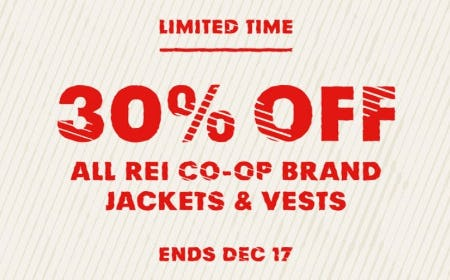 30% Off All REI Co-op Brand Jackets & Vests