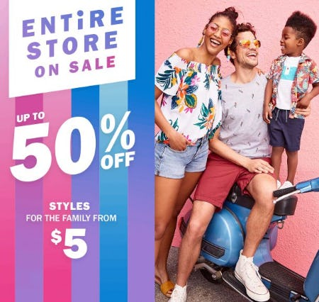Entire Store on Sale up to 50% Off from Old Navy
