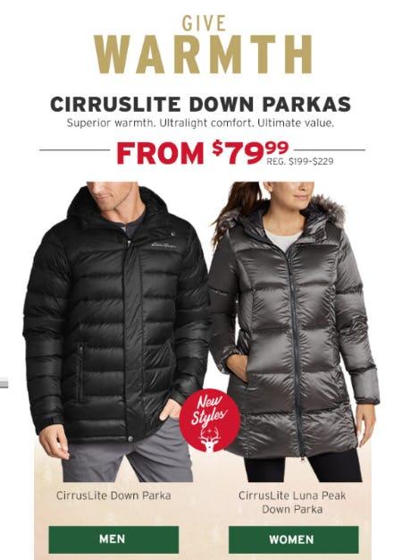 Cirruslite Down Parkas From $79.99 from Eddie Bauer