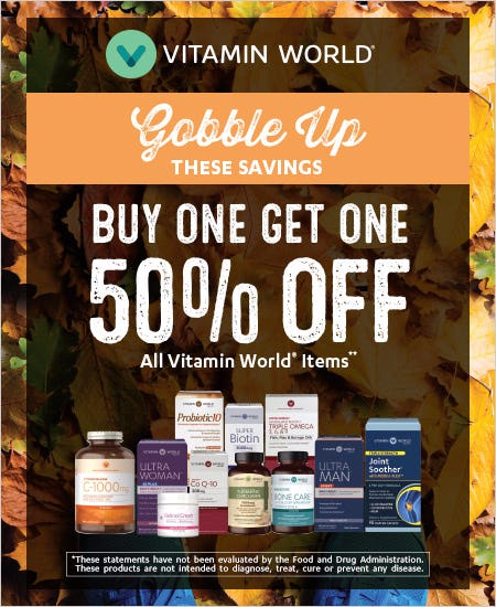 Buy One Get One 50% off All Vitamin World items