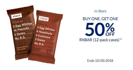 BOGO 50% Off RXBAR (12-Pack Cases) from The Vitamin Shoppe