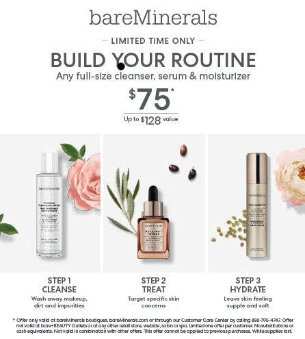 Skincare Bundle for $75 from bareMinerals