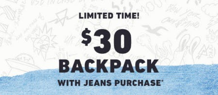 $30 Backpack with Jeans Purchase from Hollister Co.