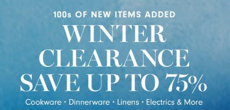 Winter Clearance: Save up to 75%