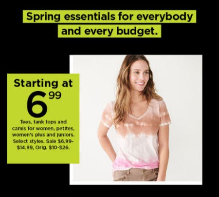 Starting at $6.99 Tees, Tank Tops and Camis for Women, Petites, Women's Plus and Juniors from Kohl's