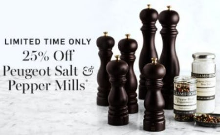 25% Off Peugeot Salt & Pepper Mills from Williams-Sonoma
