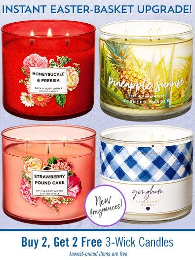 Buy 2, Get 2 Free 3-Wick Candles from Bath & Body Works/White Barn