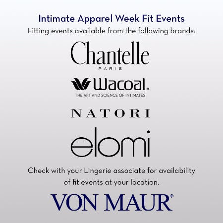 Intimate Apparel Week Fit Events from Von Maur