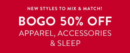 BOGO 50% Off on Apparel, Accessories & Sleep