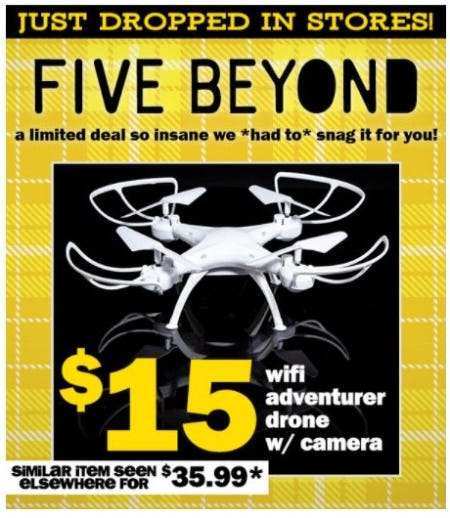 $15 Wifi Adventurer Drone with Camera from Five Below