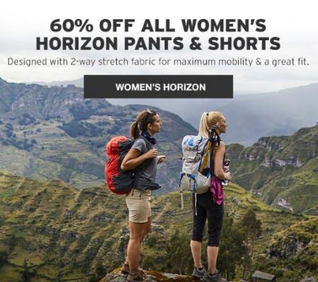 60% Off All Women's Horizon Pants & Shorts