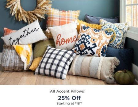 25% Off All Accent Pillows from Kirkland's