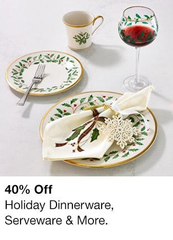 40% Off Holiday Dinnerware