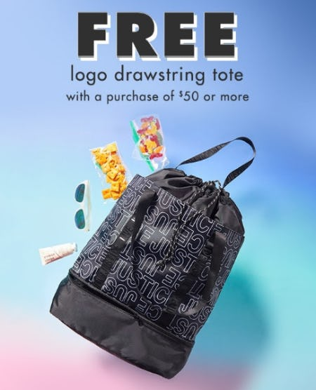Free Logo Drawstring Tote with a Purchase of $50 or More from Justice